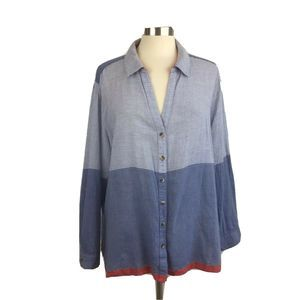 Chicos Striped Chambray Tunic Top Nautical Preppy